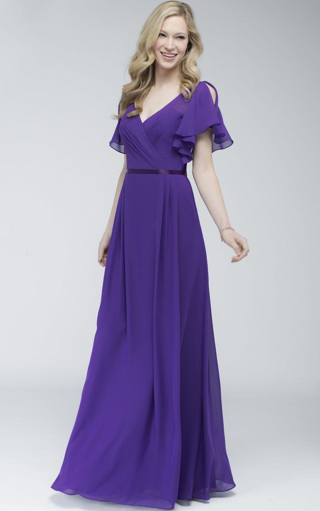 Short Sleeves Natural V-neck Chiffon Floor-length Bridesmaid Dresses ...