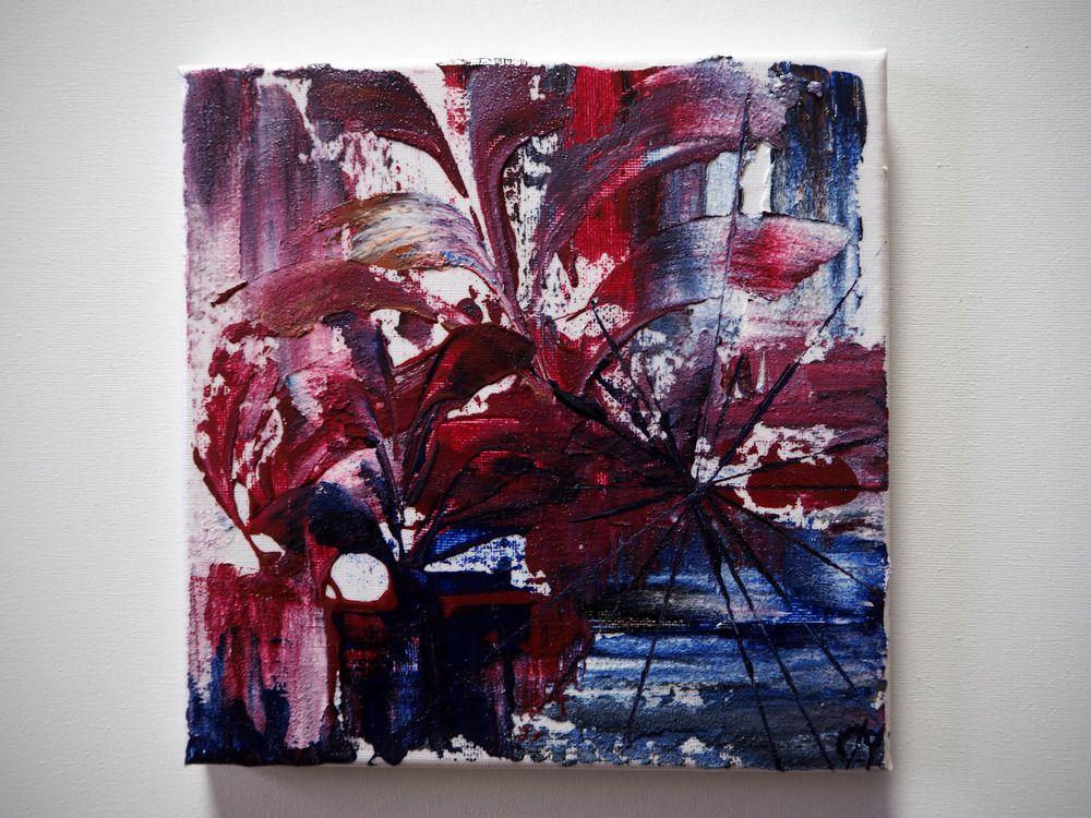 Abstrakt Acrylbild Wandbild Handgemalt Gemalde Rot Blau Lila