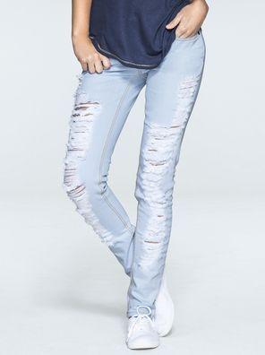 a8280b3c2 Calça Feminina Skinny Jeans Com Lavagem Clara