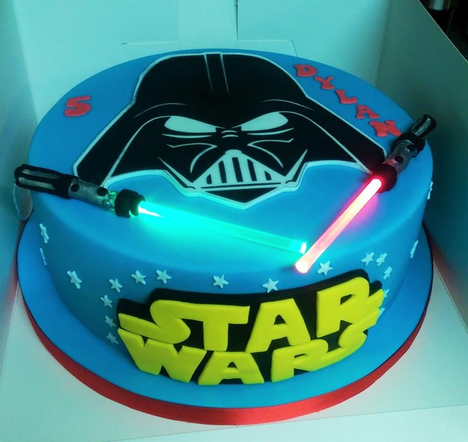 Peachy Star Wars Lightsaber Real Lights Cake With Images Star Wars Funny Birthday Cards Online Sheoxdamsfinfo