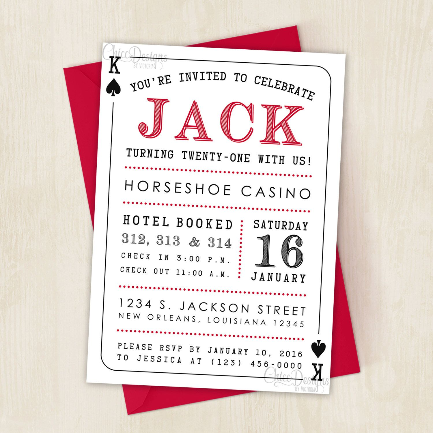 Casino Party Invitation - Deck of Cards - King & Queen - Casino ...