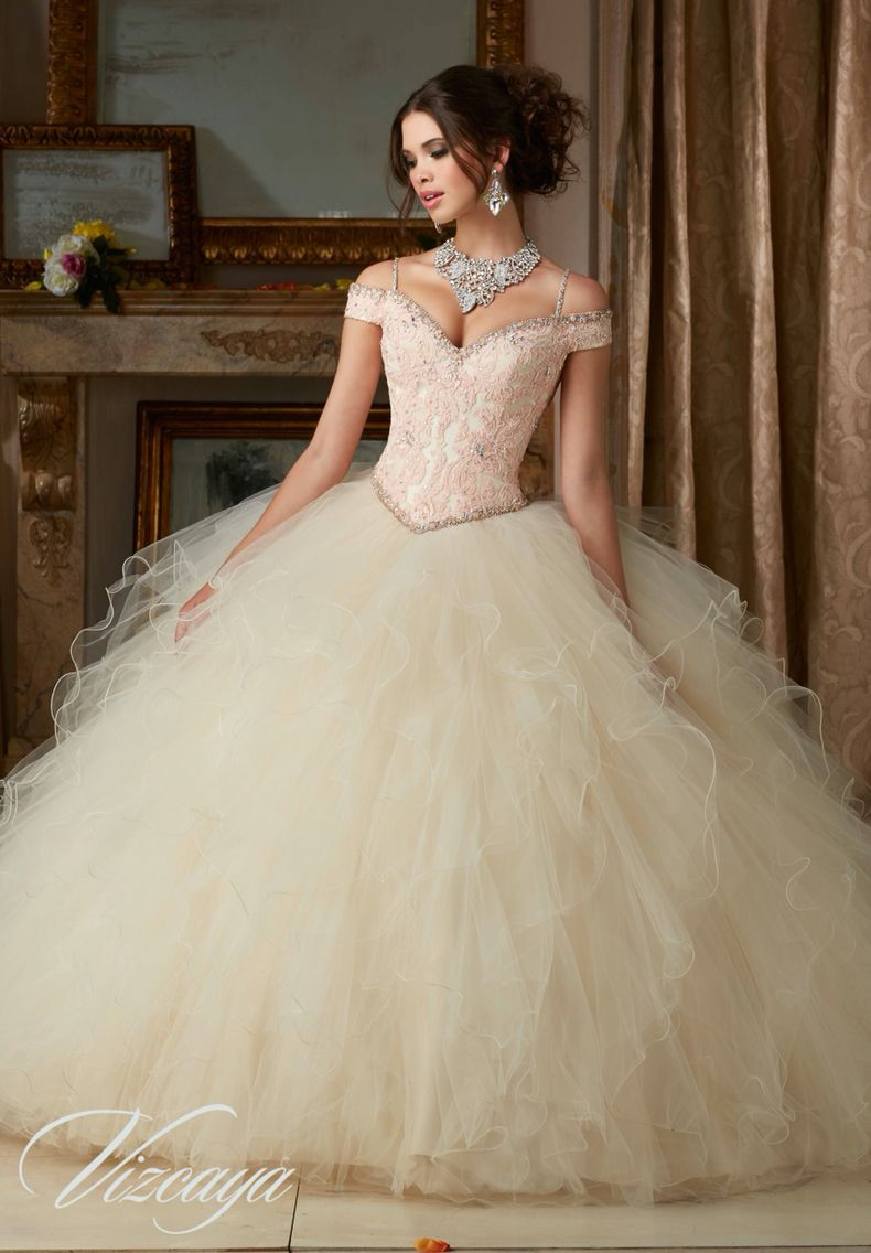 Morilee Vizcaya Quinceanera Dress 89102 BEADED LACE ON A RUFFLED TULLE BALL  GOWN Matching Stole. Available in Coral 6f8483b966d8