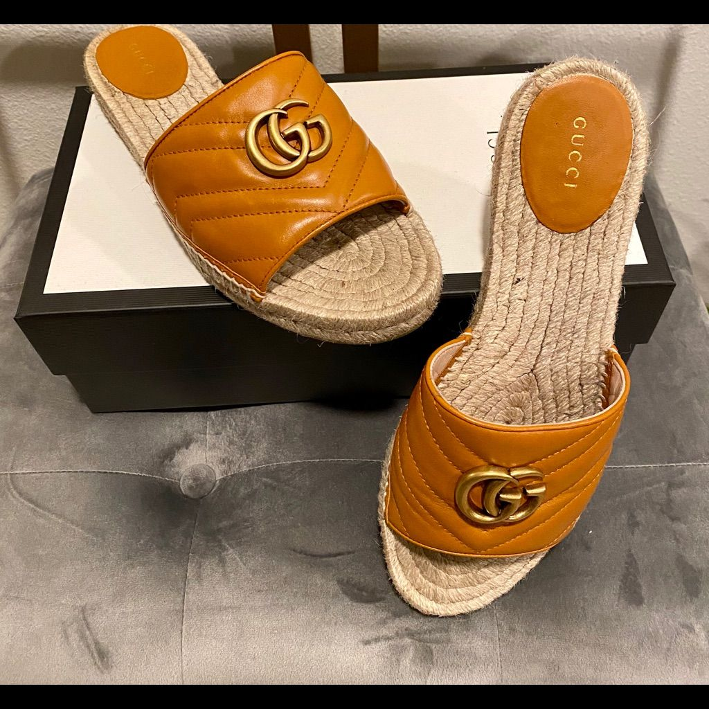 Gucci Leather Espadrille Sandals in