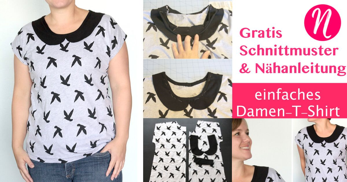 Kostenloses Schnittmuster für ein einfaches Damen-T-Shirt - mit oder ...