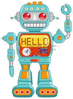 robot humano: Hola saludando de juguete de robot retro  Vectores