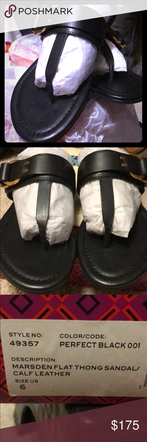 a665dbdbeeb Black Tory Burch Marsden thong sandal Brand new Tory Burch calf leather Marsden  flat thong sandal