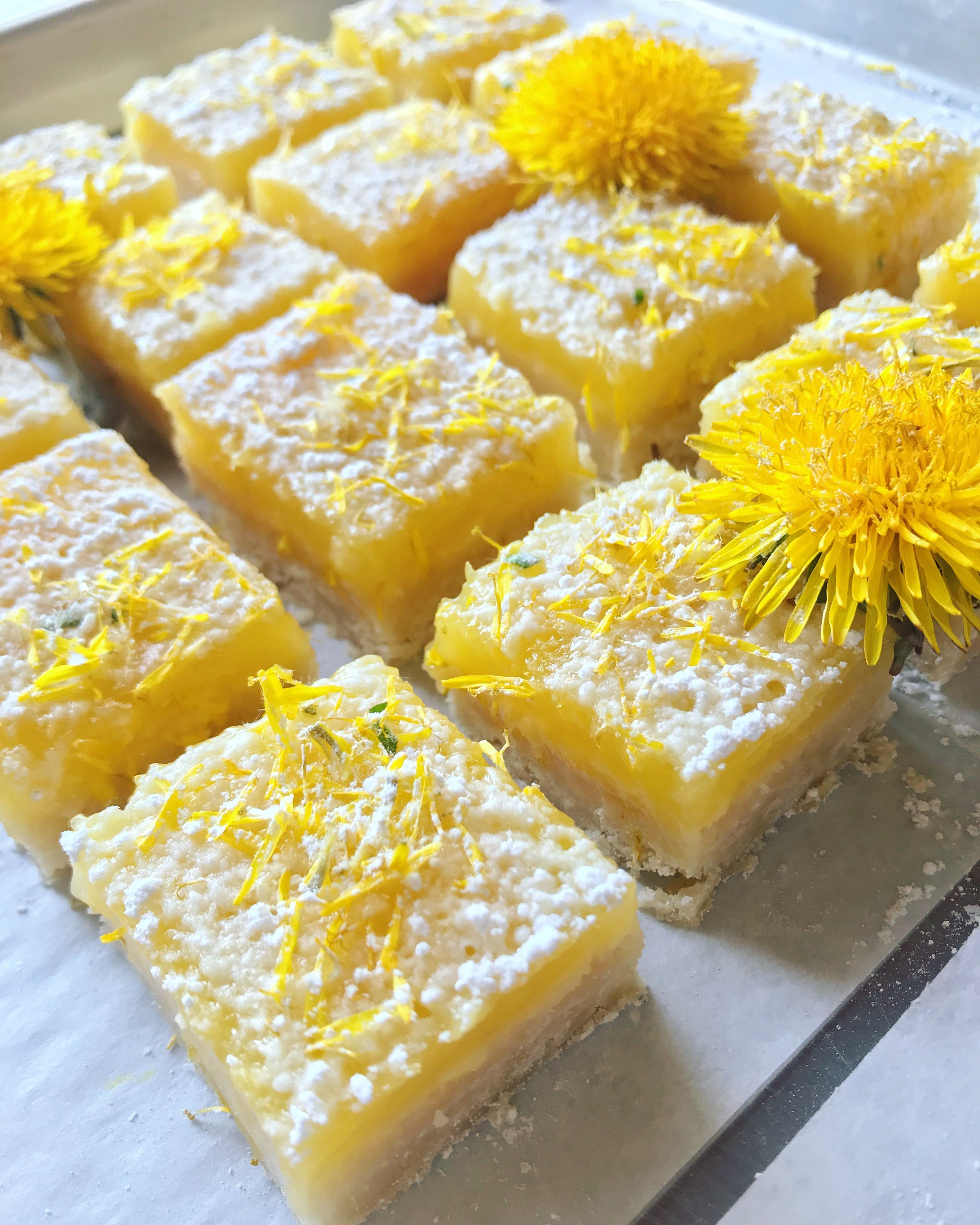 Dandelion Lemon Bars Tart And Sweet With A Touch Of The Spring Wilds Recipe Dandelion Recipes Foraged Food Foraging Recipes