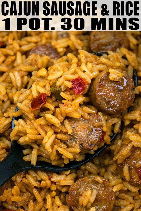 Cajun Sausage and Rice Recipe (One Pot) #sausagedinner
