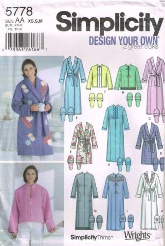 5778 Sewing Pattern Ladies Robe Robes Bed Jacket Slippers Xs S M