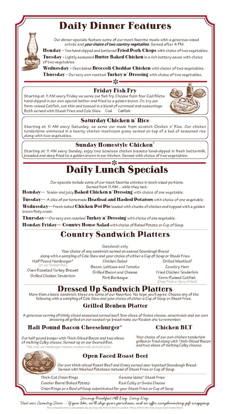 Olive Garden Menu Pdf: Cracker Barrel Daily Dinner Features And Lunch Specials