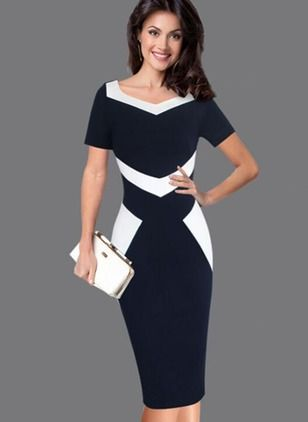 Color Block Pencil Square Neckline Midi Sheath Dress ... 311719aad42e