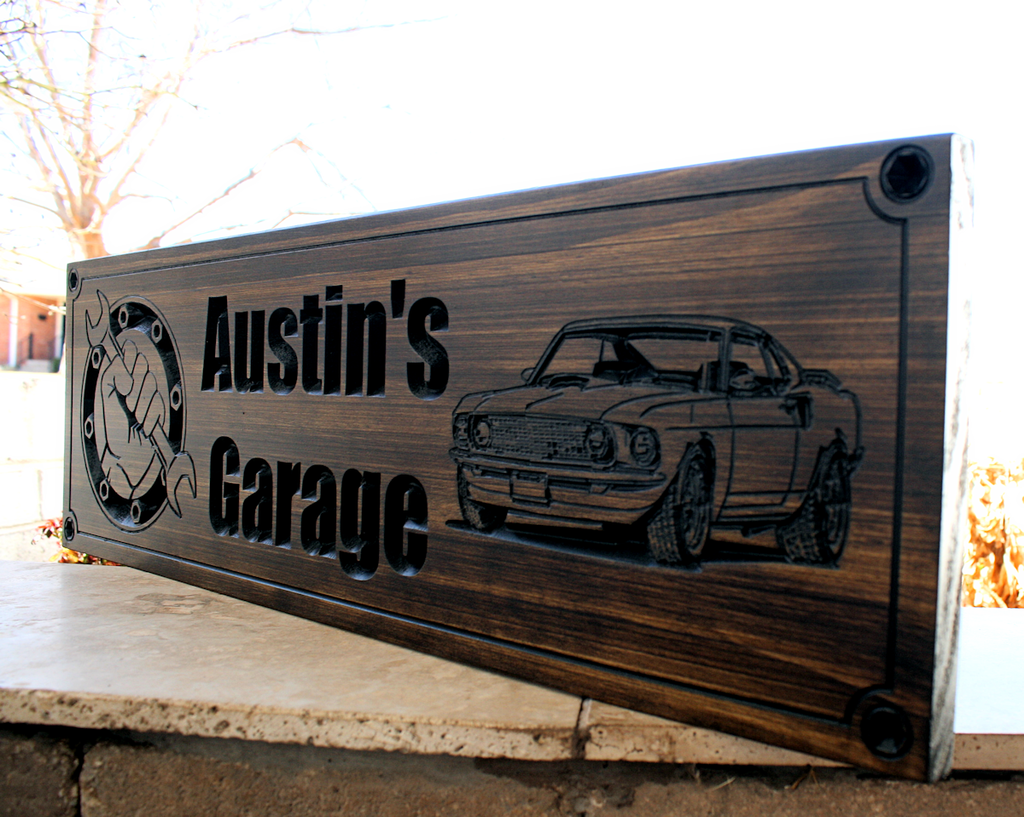 d7cf971d6ba43 Garage Sign| Man cave sign | Garage shop sign with 69 Ford Mustang ...