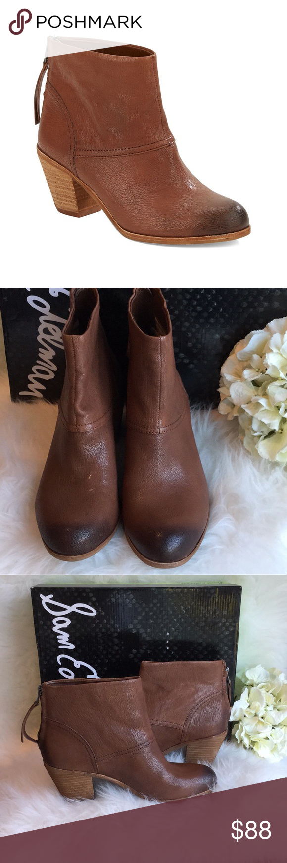 "62e8bc8201c279 🆕Sam Edelman Larkin Boots NWT Beautiful round toe leather boots by Sam  Edelman in brown cocoa leather. 3"" stacked wooden heel. Back zipper closure."