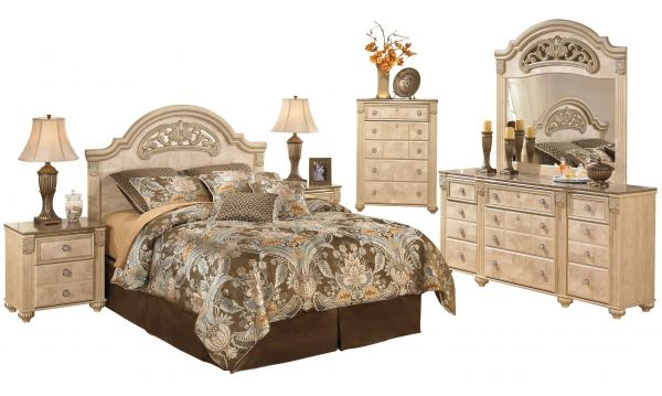 Saveaha Light Brown Wood Marble Master Bedroom Set Bedrooms