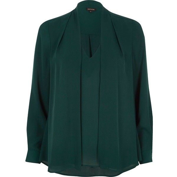 River Island Green 2 in 1 blouse (£52) ❤ liked on Polyvore featuring tops, blouses, green, women, tall tops, long sleeve layering tops, layered tops, double layer top and green blouse