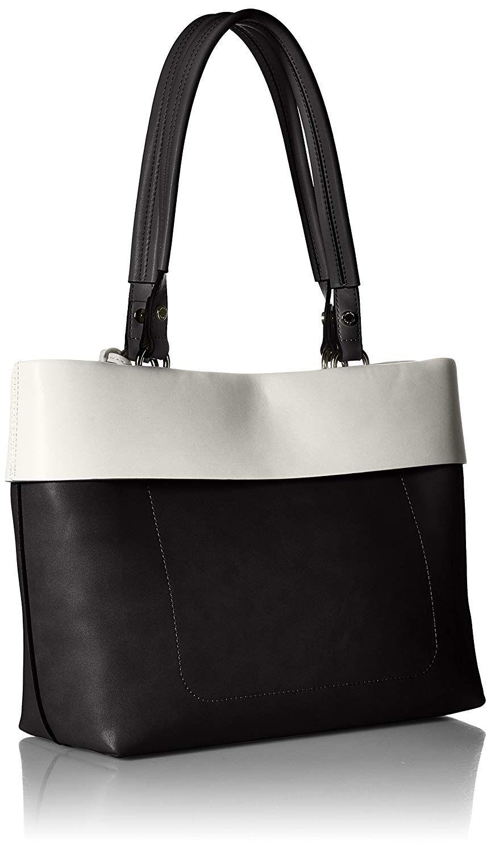 8beb43c189 Amazon.com: Calvin Klein Patty Faux Leather East/West Tote, Black/White:  Clothing