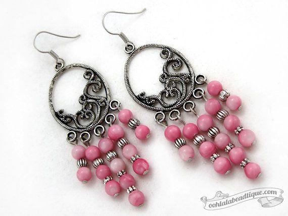 Pink chandelier earrings boho dangles pink jewelry shell earrings bohemian jewelry gypsy earr Pink chandelier earrings boho dangles pink jewelry shell earrings bohemian j...