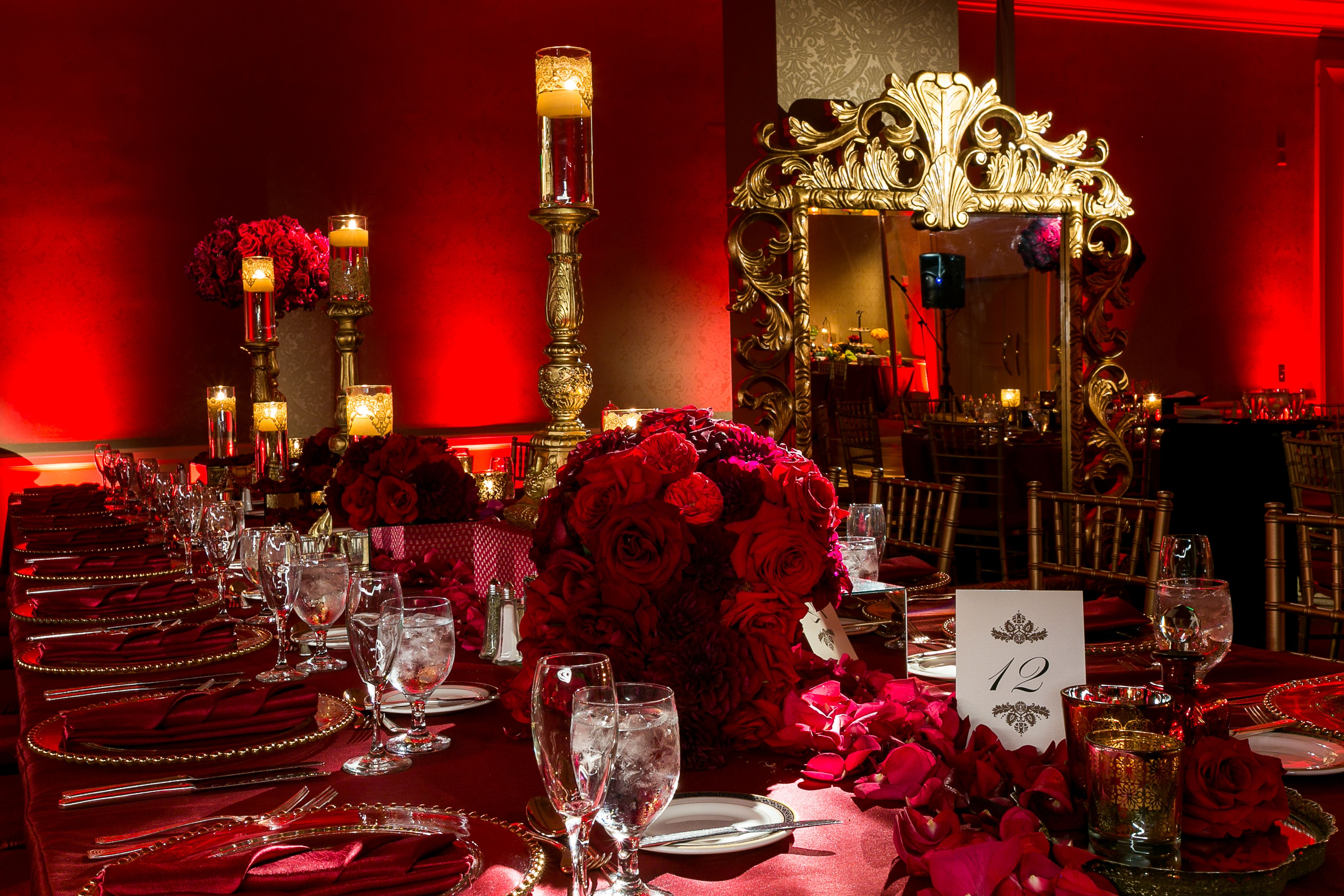 Wedding decorations red  SoniaSharmaEvents red tablescape  Mom and Dad th Anniversary