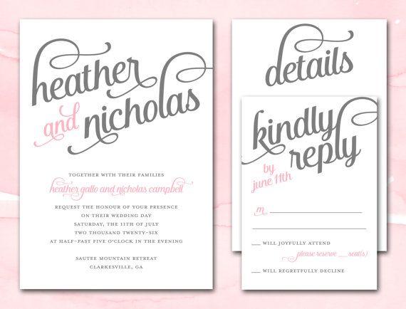 Wedding Invitation Printable DIY Wedding Invite Pink and Gray