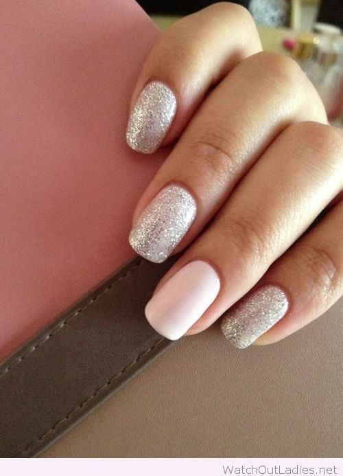 Glitter on grey and light pink nail polishes - Glitter On Grey And Light Pink Nail Polishes !♥ Nail Designs