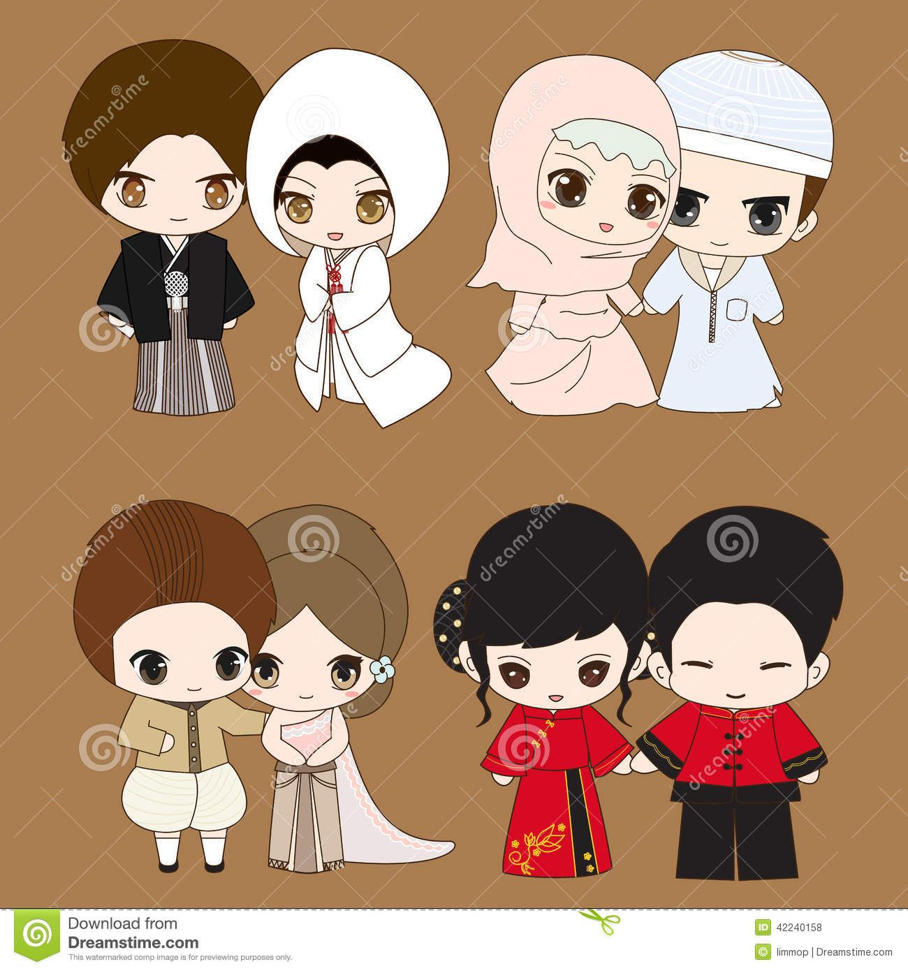 Set Cute Cartoon Chinese Anese Muslim