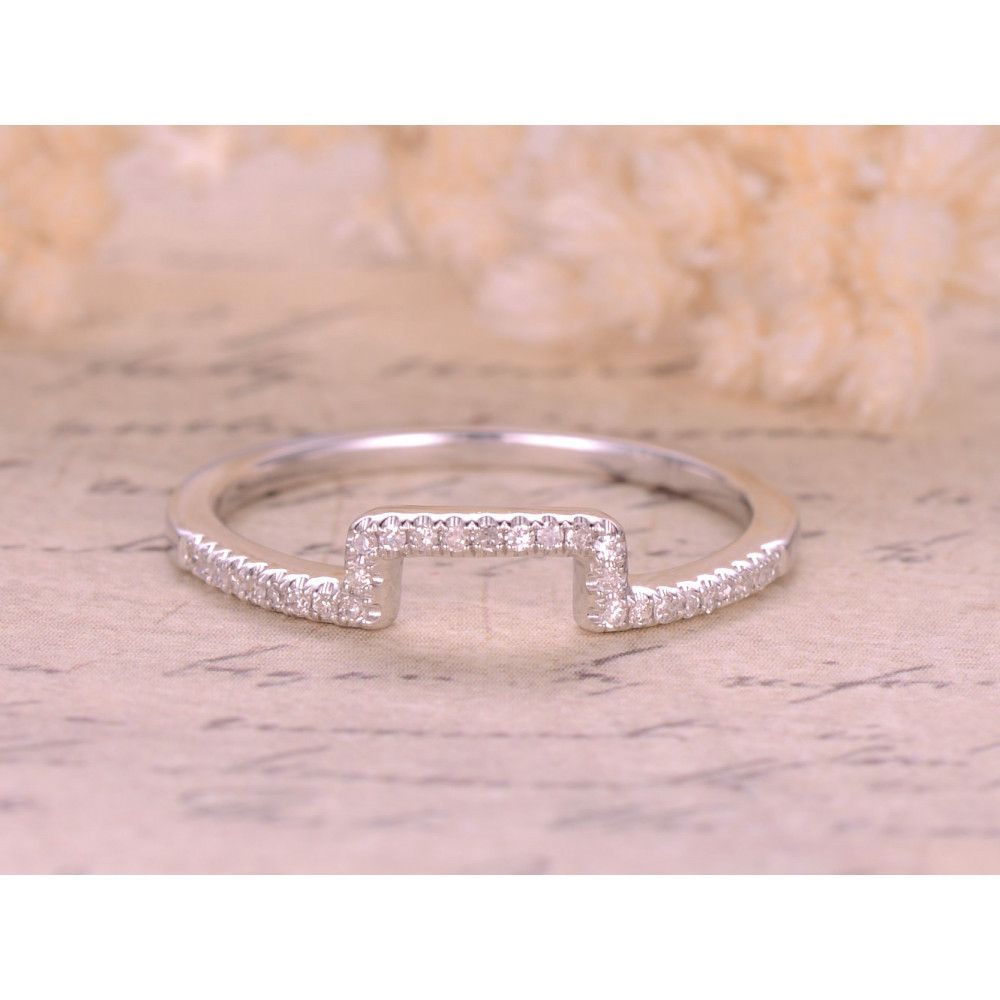 0.16ctw Round Cut Diamond Wedding Band 14K White Gold Half Eternity ...