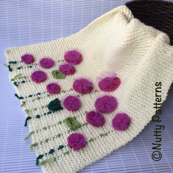 Knitting Patterns For Flower Bed Blanket Ad Quick And Easy Baby