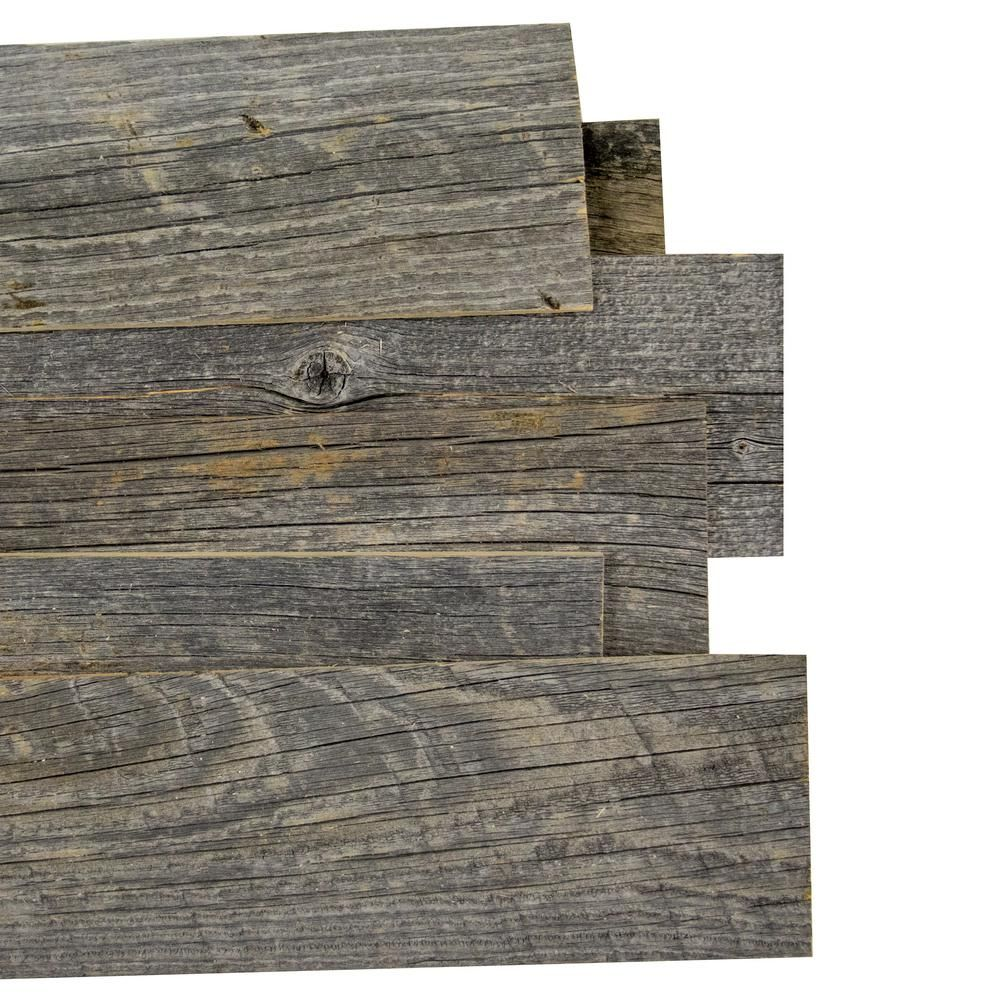 Reborn 1 4 In X 5 In Snow Weathered 100 Reclaimed Wood Wall Paneling 20 Sq Ft Box Hdrwbg145 The Home Depot Wood Panel Walls Reclaimed Barn Wood Wall Reclaimed Wood Wall