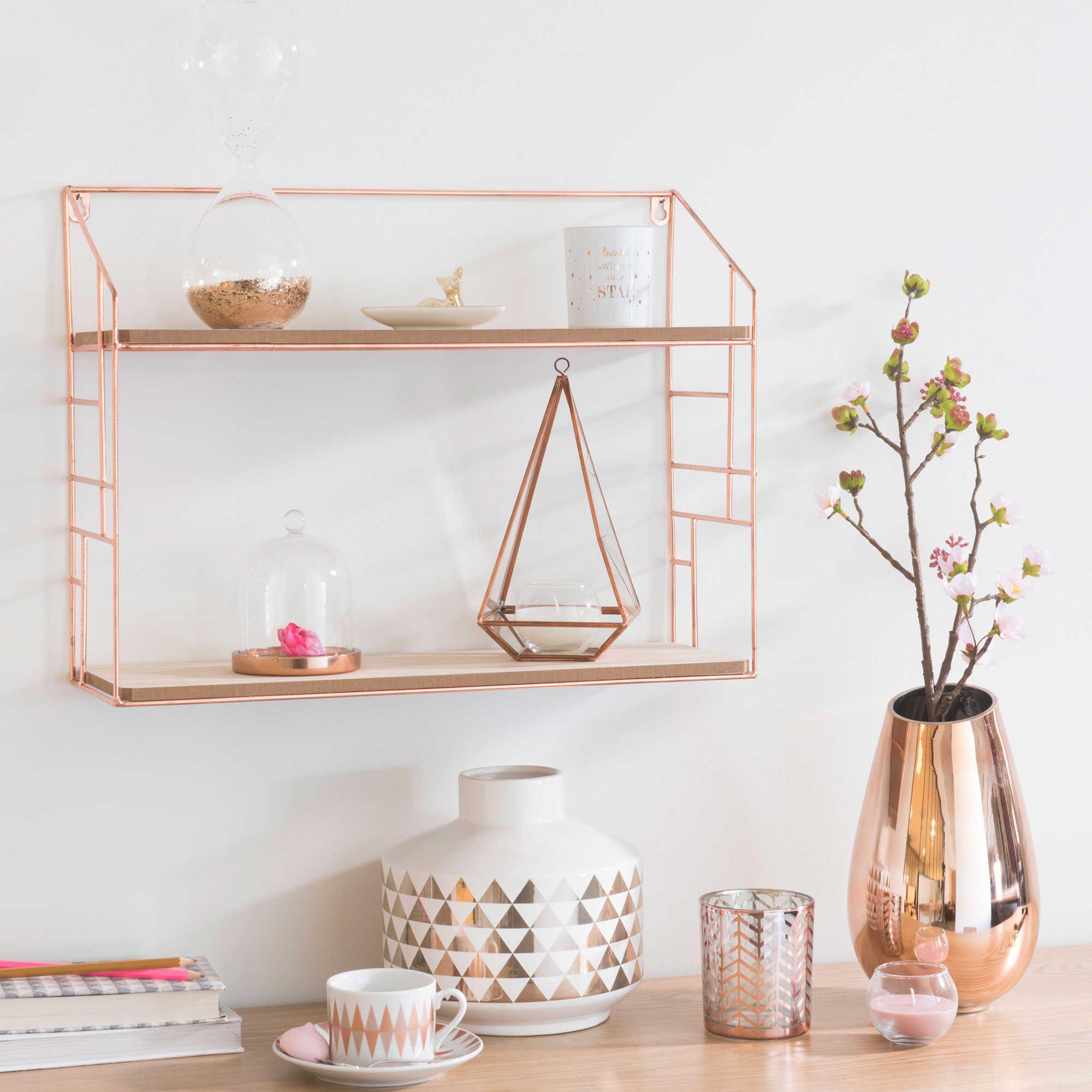 Metal Wall Shelf 38x50cm Maisons Du Monde Rose Gold Bedroom Rose Gold Room Decor