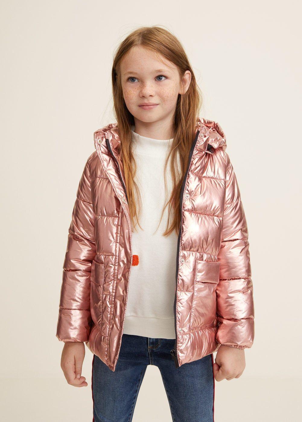 Metallic Puffer Jacket Girls Mango Kids Usa Girls Puffer Jacket Girls Bomber Jacket Crop Sweatshirt Hoodie [ 1398 x 1001 Pixel ]