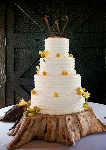 This Wedding Cake Was Iced In Vanilla Buttercream And Adorned With