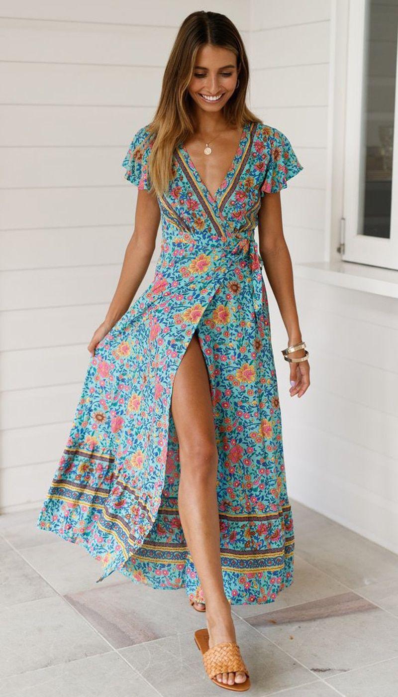 Womens Plus Size Floral Boho Maxi Dress O Neck Summer Casual Vintage Sleeveless Floaty Long Dresses