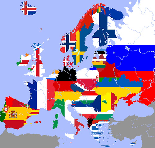 Linguistic map of Europe with flags representing each language