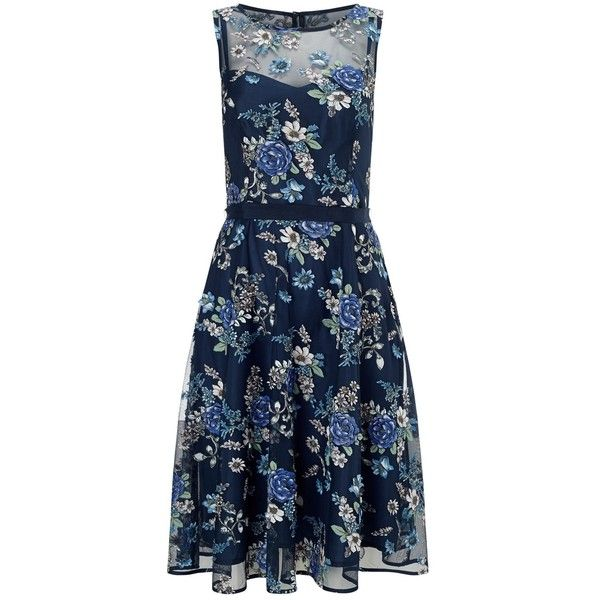 Phase Eight Prudence Fit and Flare Dress, Multi ($200) ❤ liked on Polyvore featuring dresses, floral print maxi dress, mini dress, blue midi dress, long-sleeve mini dress and midi dress