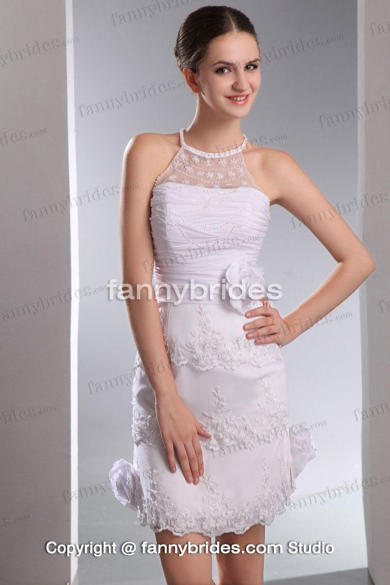 High neck applique petite short chic wedding dress to elope