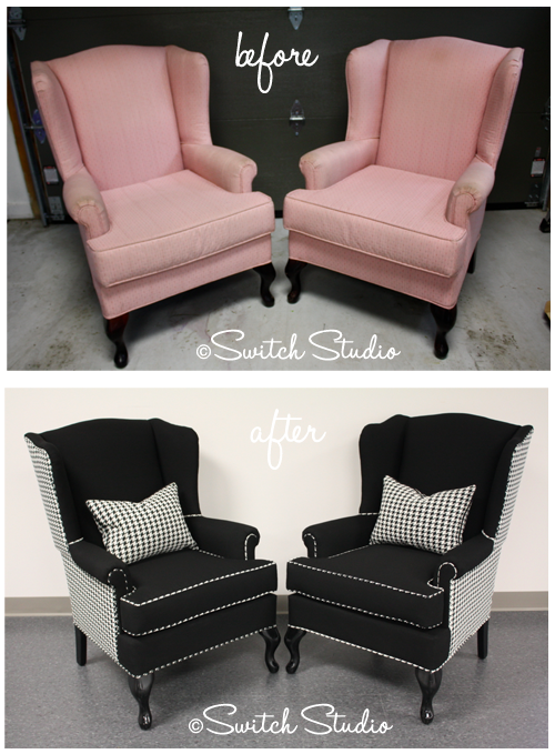 Switch studio reupholstered wingback chairs black and for Reupholstered chairs for sale