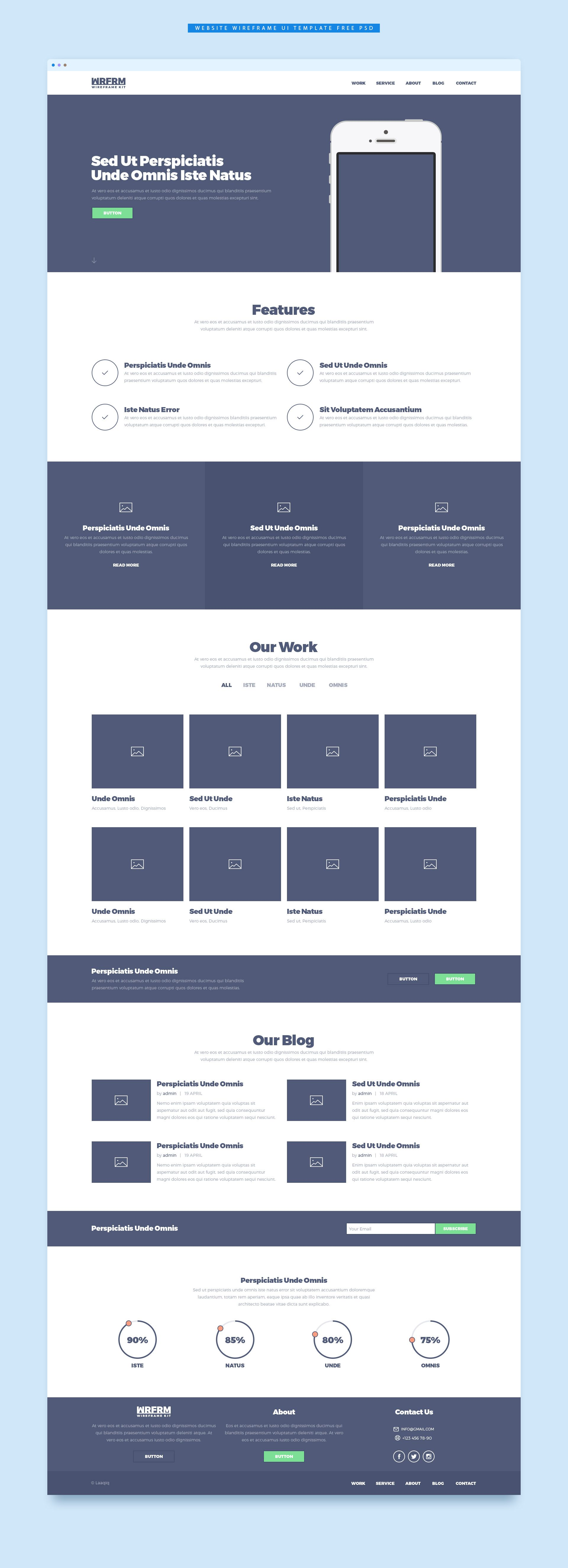 cool website wireframe ui template free psd download website