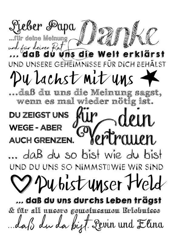 Print Danke Papa, personalisierter Druck, Poster, Geschenk zum Vatertag, Geschenkidee für den Vater oder den Opa