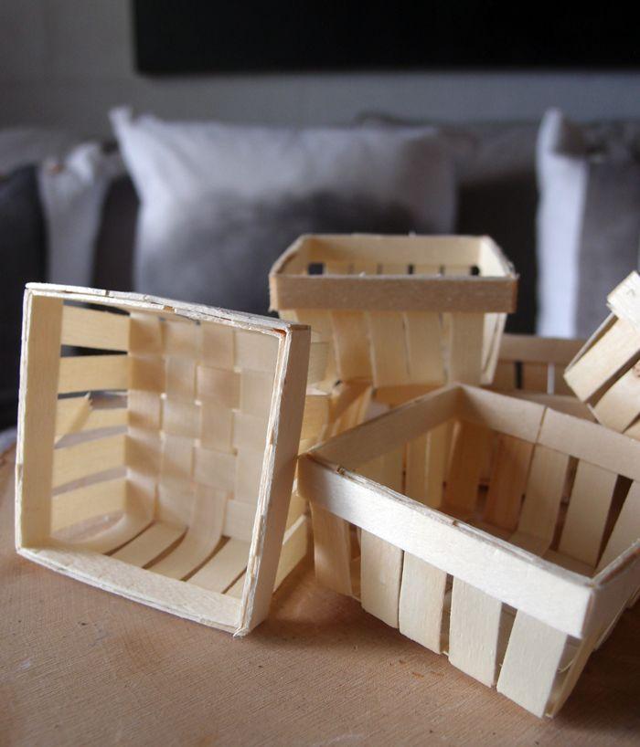 Mini Wood Basket Favors 275 X 275 X 135 In 6 Pc Wedding