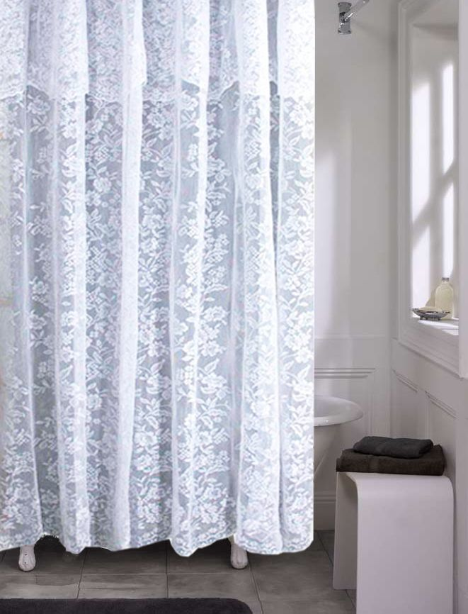 This Traditional Lace Fabric Shower Curtain Features A Lovely