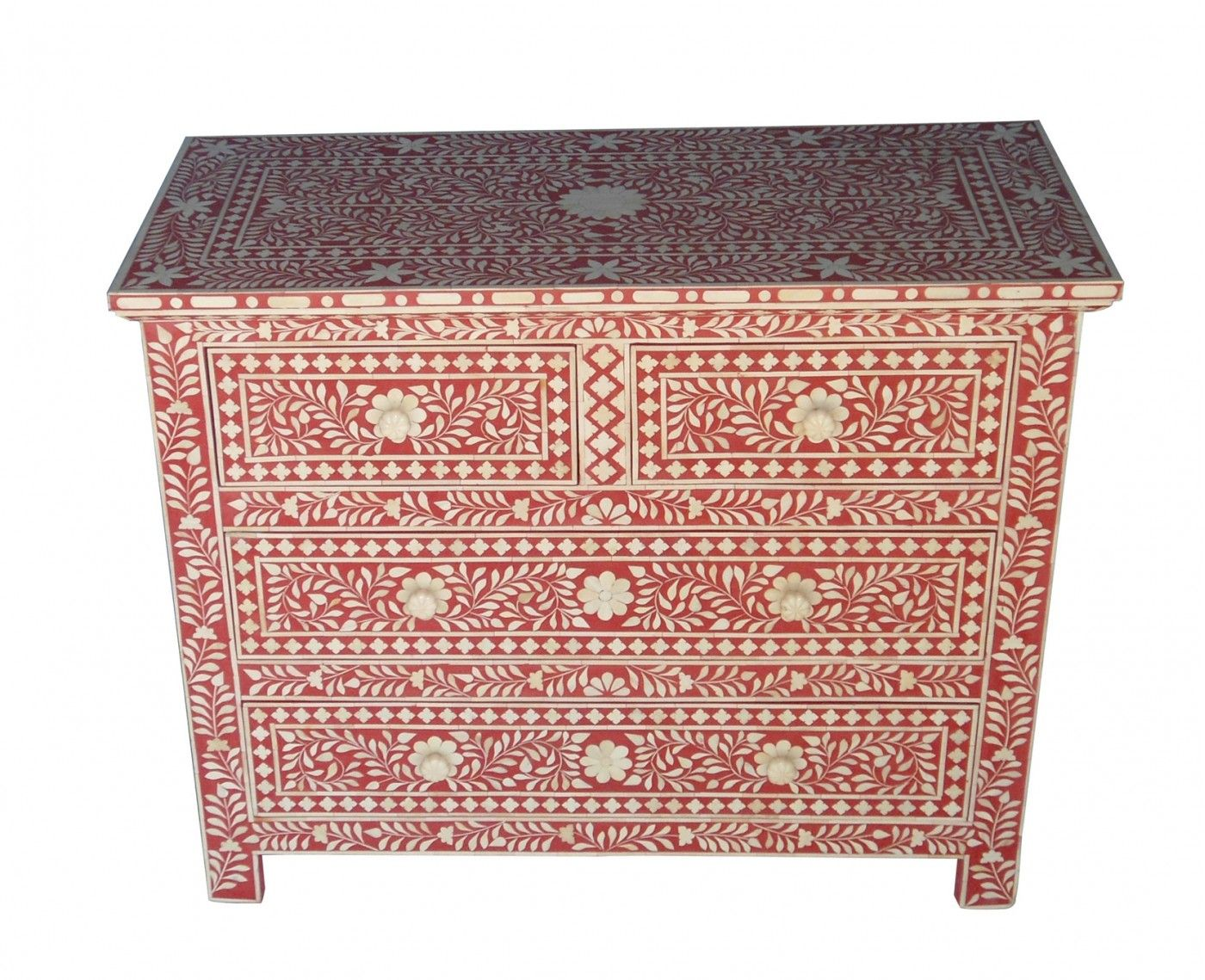 Dazzling and delicious, our Red Floral Chest combines the artistic craftsmanship of India with the iconic vibrancy of colour found in their ceremonies and textiles. Evocatively exotic in flavour, each piece is painstakingly handmade from buffalo and formed into a floral design that is then given layers of coloured resin and finally hand sanding. Co-ordinate with ivory walls and accents of red in furnishings for a casual mood and black for dramatic impact.
