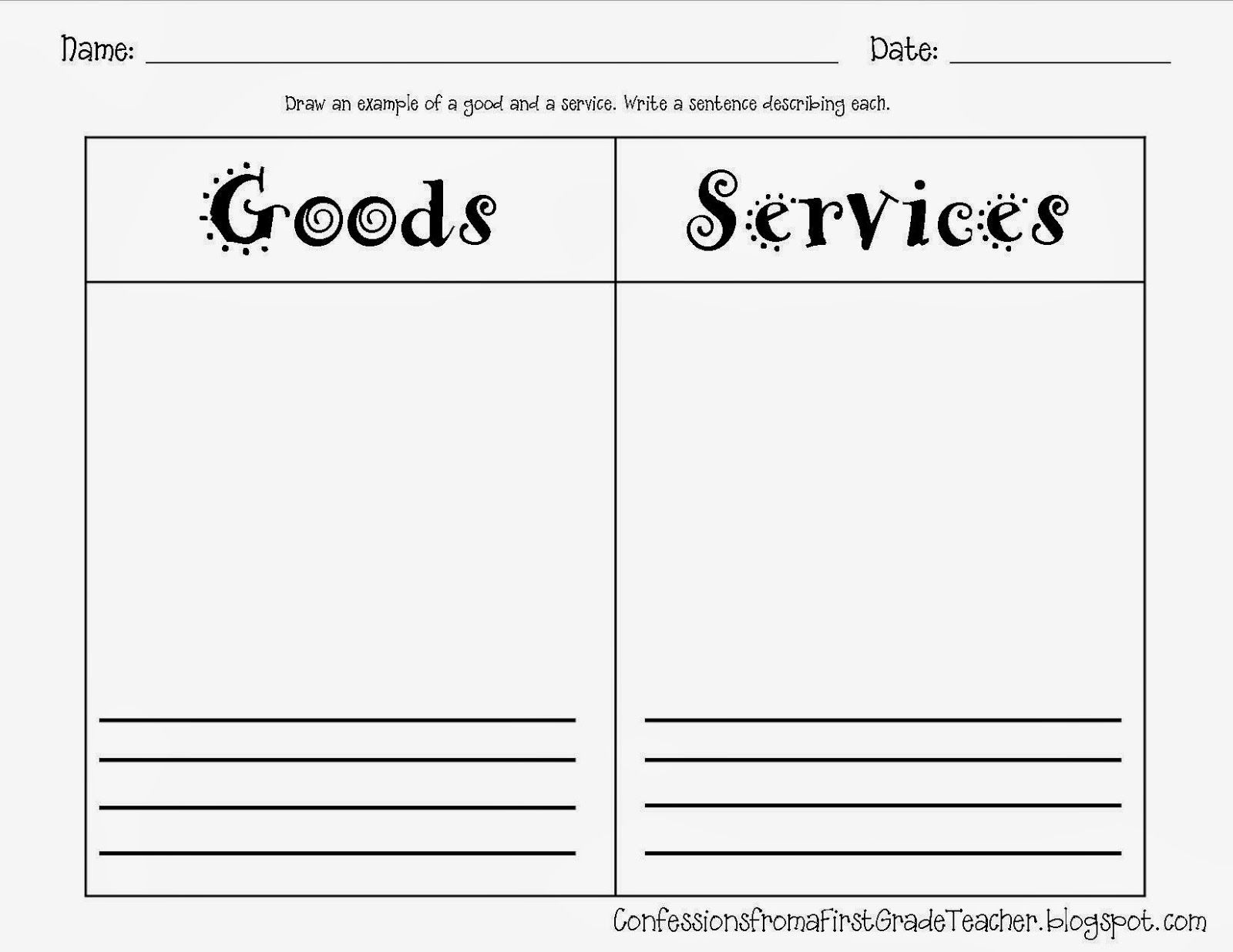 Goods And Services 1st Grade