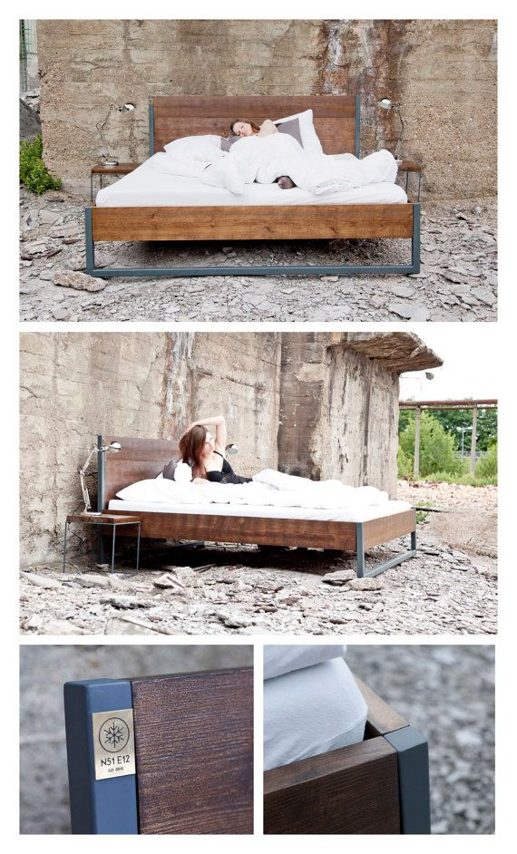 LOFT VINTAGE INDUSTRIAL Bett 160x200 Holz Stahl von N51E12 auf Etsy ...
