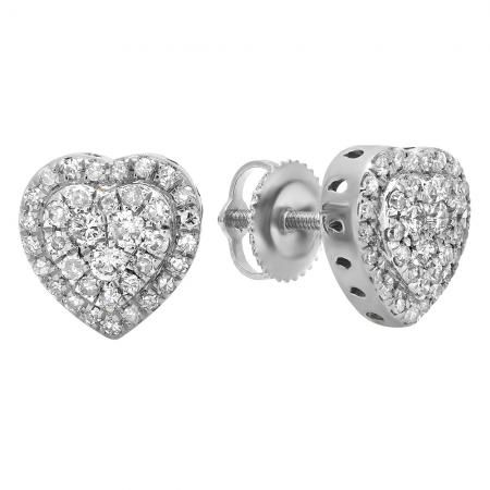 0bc65b78c Fashioned in 10K White gold each heart-shaped stud earring is centered with  a regal array of white diamonds. A border of shimmering white ...