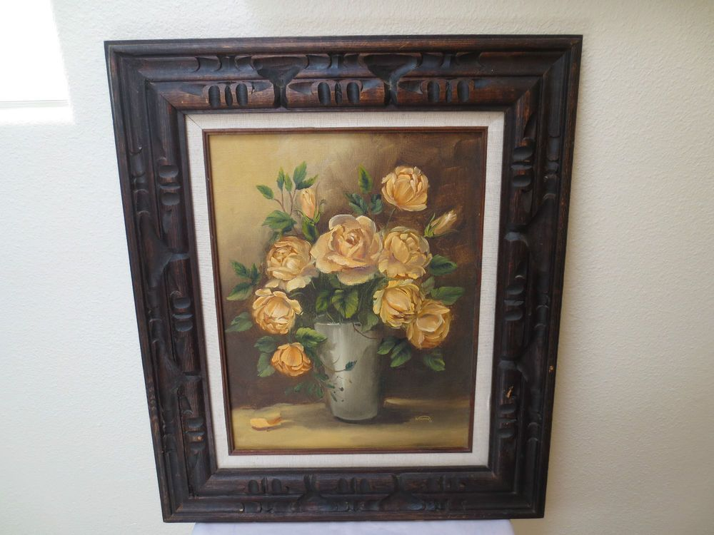 $64.99 - ORIGINAL OIL? / ACRYLIC? PAINTING of ROSES, POT, FRAME ...