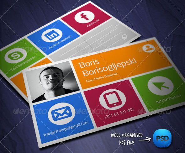 Socialmediavisitcard Namecard Pinterest Business Cards - Social media business card template