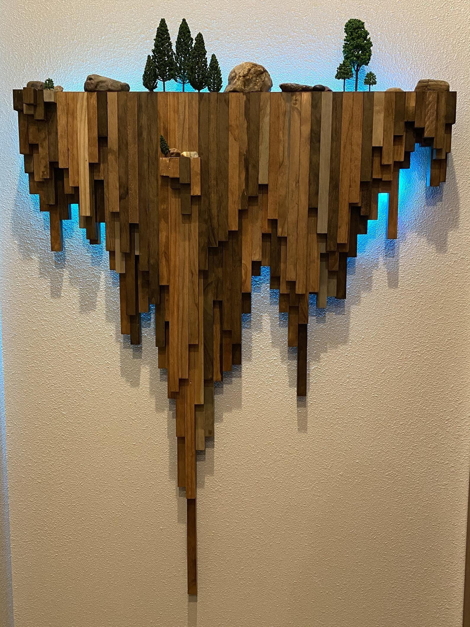 Wood wall art / cliff woods scene / 3D / wall hang