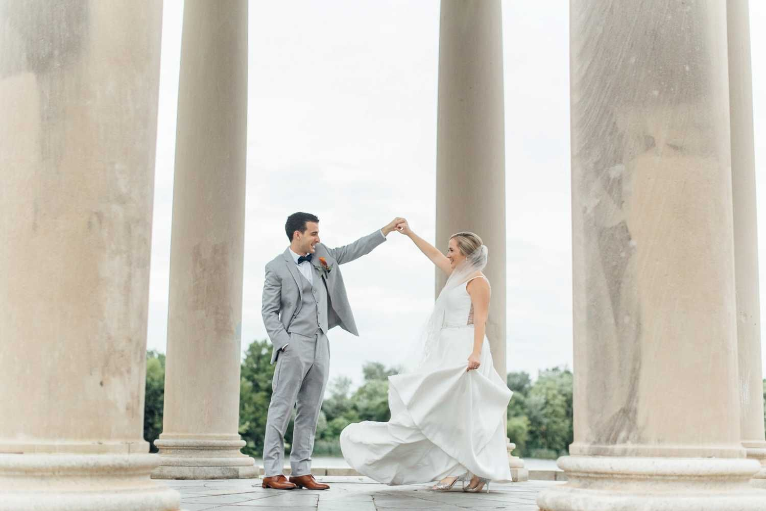American swedish historical museum wedding light gray suit with