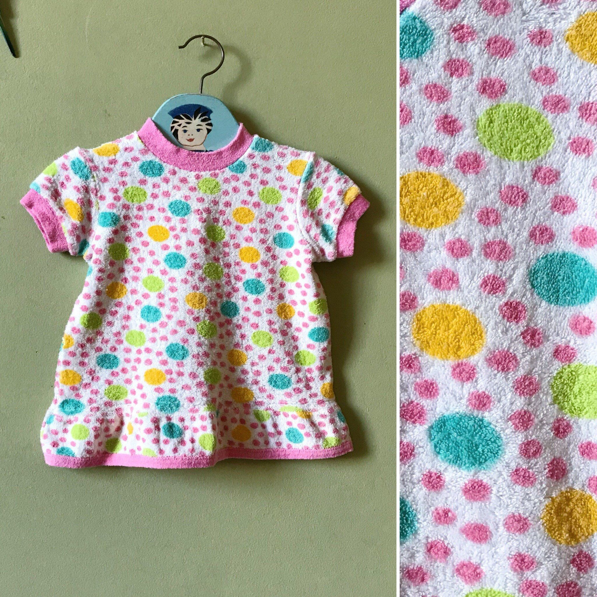 Vintage baby dress girls dress Pink green white spotted spots