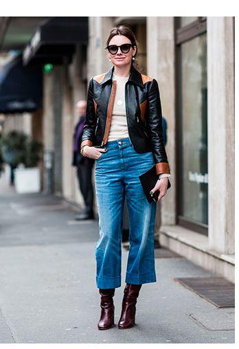 08044f3c5b3 Como usar pantacourt jeans inspiração look street style  jaqueta de couro  bicolor
